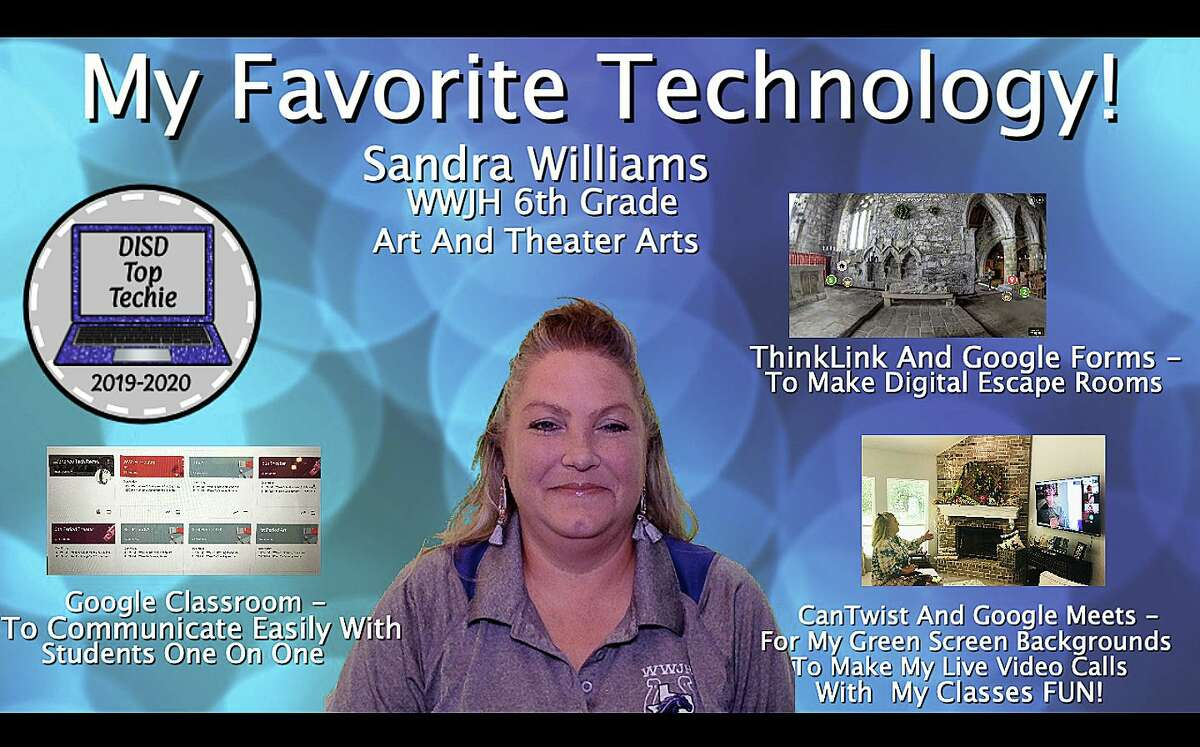 Sandra Williams, art and theater arts teacher at Woodrow Wilson Junior High sixth grade, has created her own backdrop for students during their online learning classes.