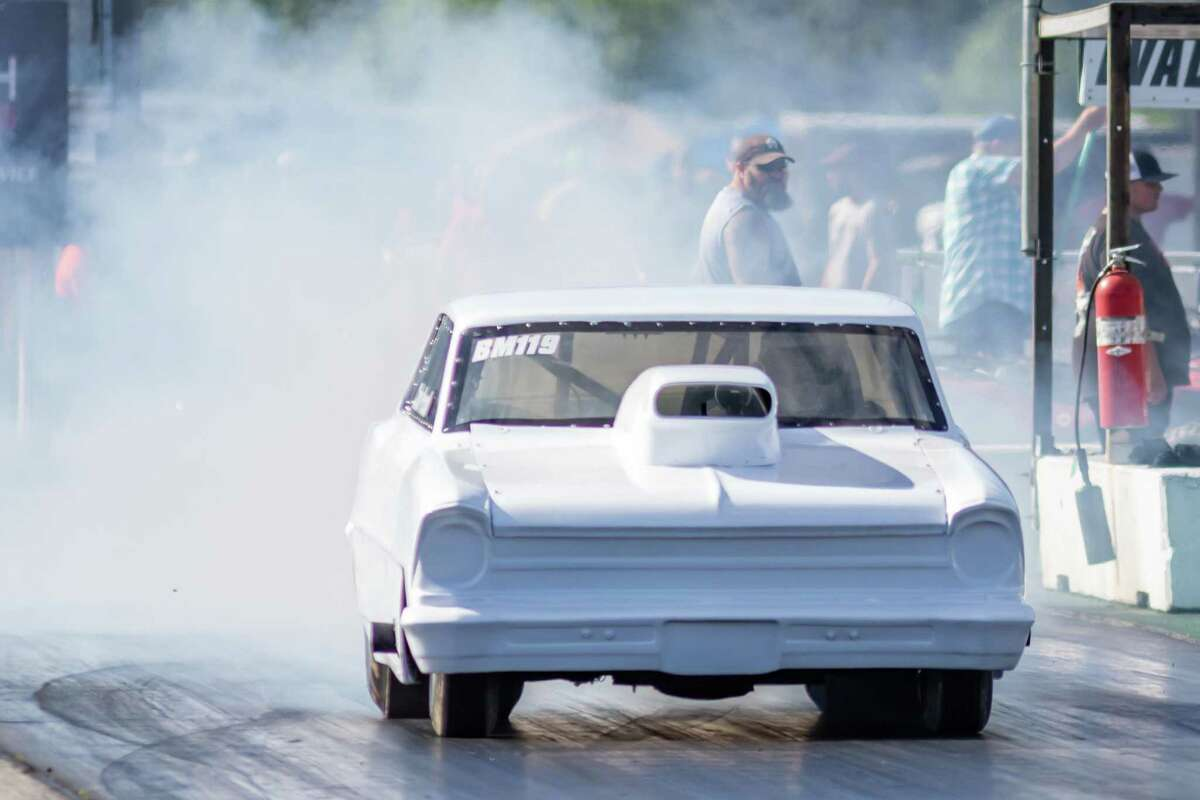 A 60's Chevy II burns up the track as racing down the quarter mile was up and running again at Evadale Raceway on Saturday. Photo made on May 2, 2020. Fran Ruchalski/The Enterprise
