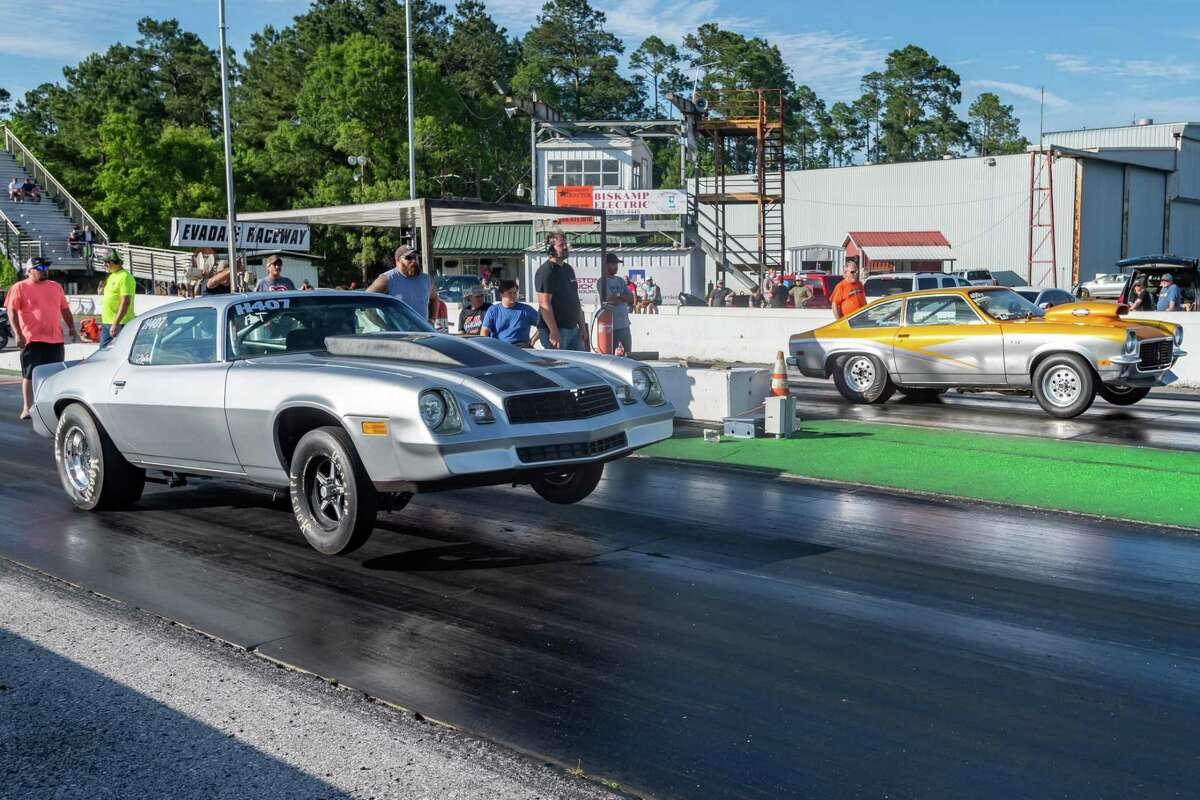 It's a 70's Chevy match race between a Camaro and a Vega as racing down the quarter mile was up and running again at Evadale Raceway on Saturday. Photo made on May 2, 2020. Fran Ruchalski/The Enterprise