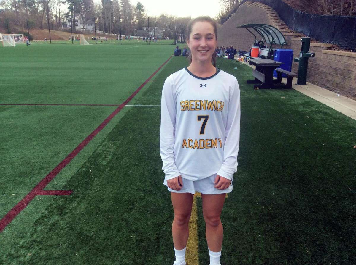 Tessa Brooks scored three goals in Greenwich Academy's 17-9 season-opening win against visiting Wilton on Thursday, April 5, 2019.