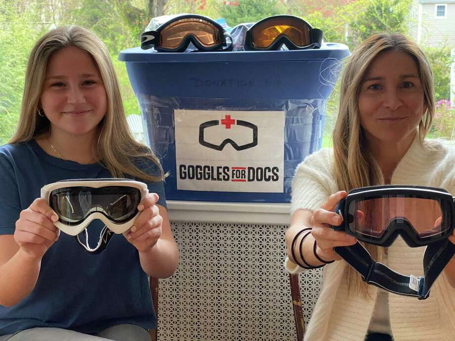 Left, Sophie Hermes and her mother Cristina Hermes. Cristina is collecting new and used goggles at her Darien home, for a nonprofit organization called Goggles For Docs. Photo: Contributed Photo / Connecticut Post