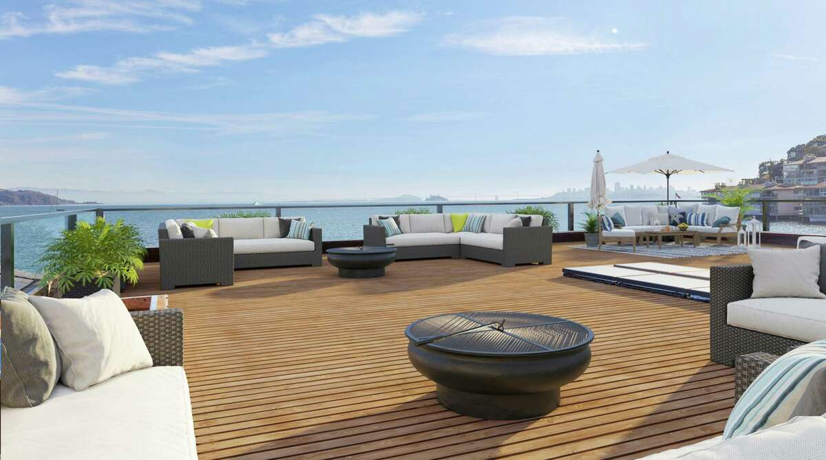 This rendering of a virtual renovation showcases what a roof deck in Sausalito could look like, once completed.