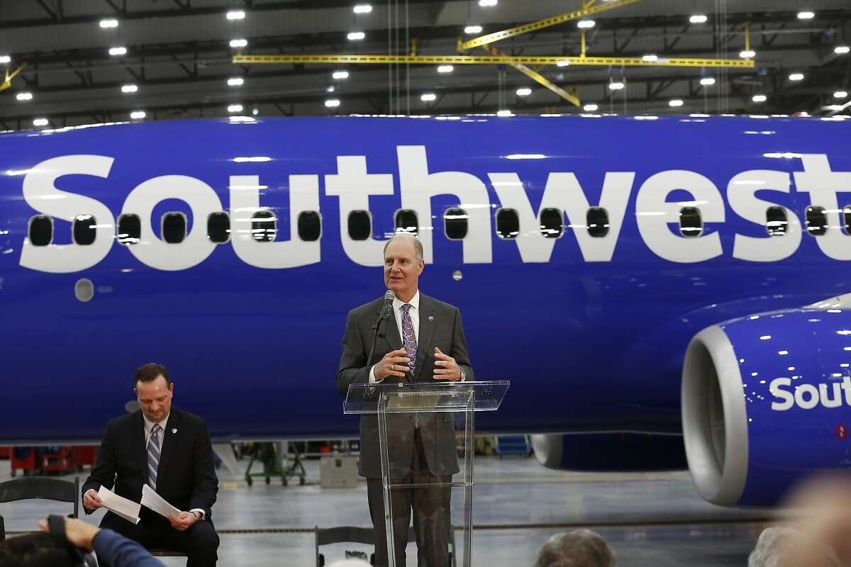 Gary Kelly, Southwest Airlines Chairman of the Board and CEO speaks to a crowd during the Southwest Airlines opening of a $125 million, 140,000-square-foot, maintenance hangar at Hobby Airport Wednesday, Jan. 8, 2020, in Houston.