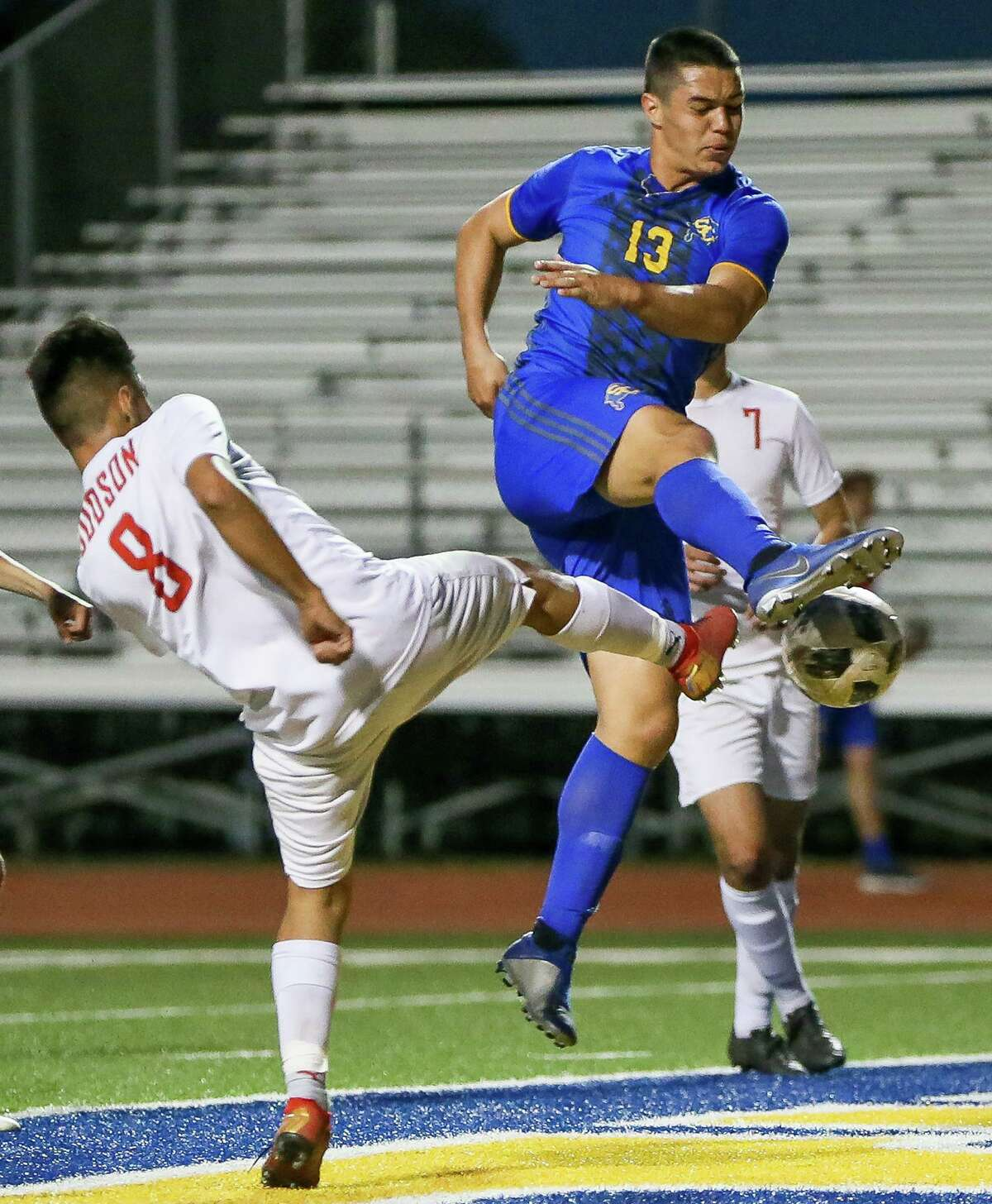 Judson's Alan Baez, left, tries to prevent Clemens' Jackson Macias from taking a shot at the goal during the first half of their District 26-6A boys soccer game at Lehnhoff Stadium on March 22, 2019.