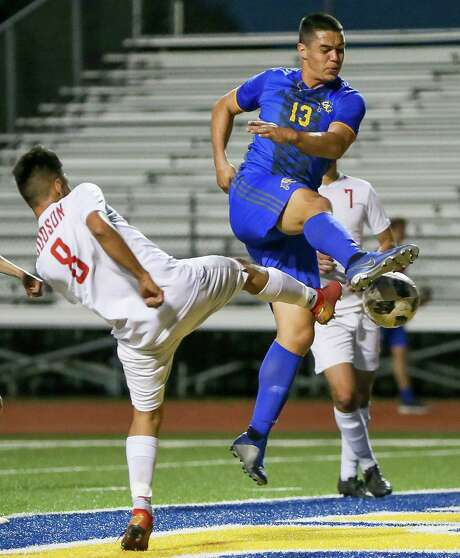 Judson's Alan Baez, left, tries to prevent Clemens' Jackson Macias from taking a shot at the goal during the first half of their District 26-6A boys soccer game at Lehnhoff Stadium on March 22, 2019. Photo: Marvin Pfeiffer / / Express-News 2019