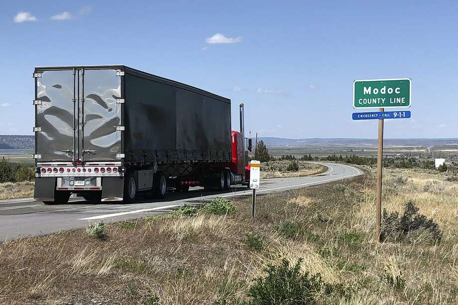 On Friday, May 1, 2020, a northbound truck follows the Modoc County Line of the High Sierra in northern Nevada (located north of Reno, Nevada), close to Ricali, California.  In six weeks, this was the first diner in a California restaurant in six weeks.  It happened in the very small Modoc County, contending with the Oregon border, and despite restrictions, the state ignored Governor Gavin Newsom and reopened the economy.  Photo: Associated Press reporter Scott Sonner