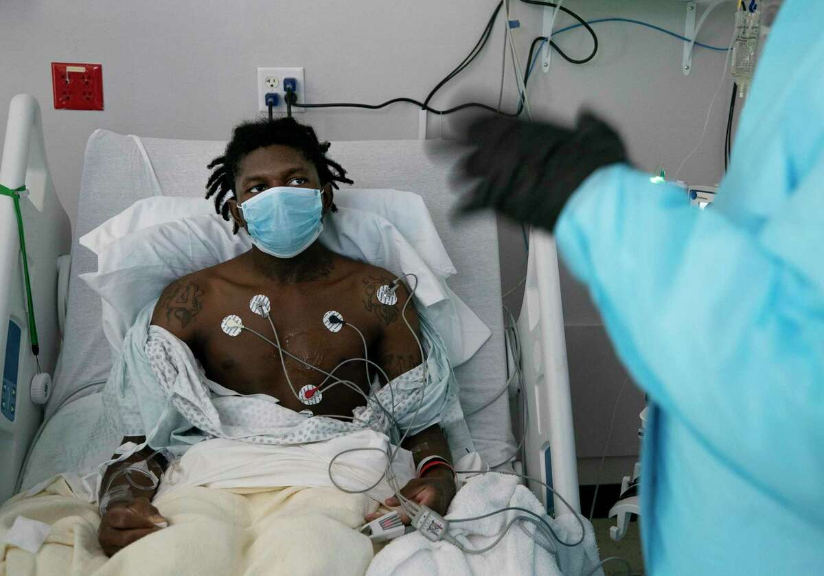 Jermon Robertson, 27, arrived at UMMC after reportedly being bitten by a spider, but tested positive for COVID-19 and has developed blood cloths around his heart. Photographed Tuesday, April 28, 2020, in Houston.
