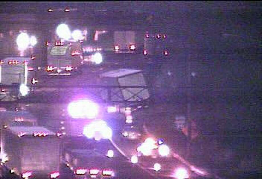 A jackknifed tractor-trailer truck has shut down the right lane of northbound I-95 in Norwalk Monday morning. Photo: Traffic Cam Image