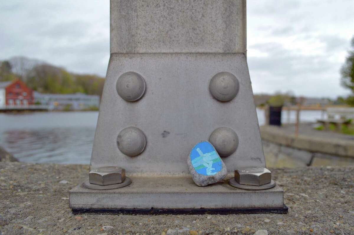 This little stone was hiding on the Ruth Steinkraus Bridge on the Post Road on Saturday, May 2, 2020, in Westport, Conn.
