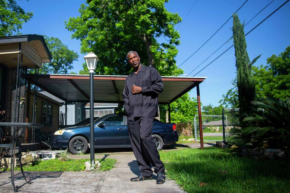 James Harris outside of his home in northeast Houston on Friday, May 1, 2020.
