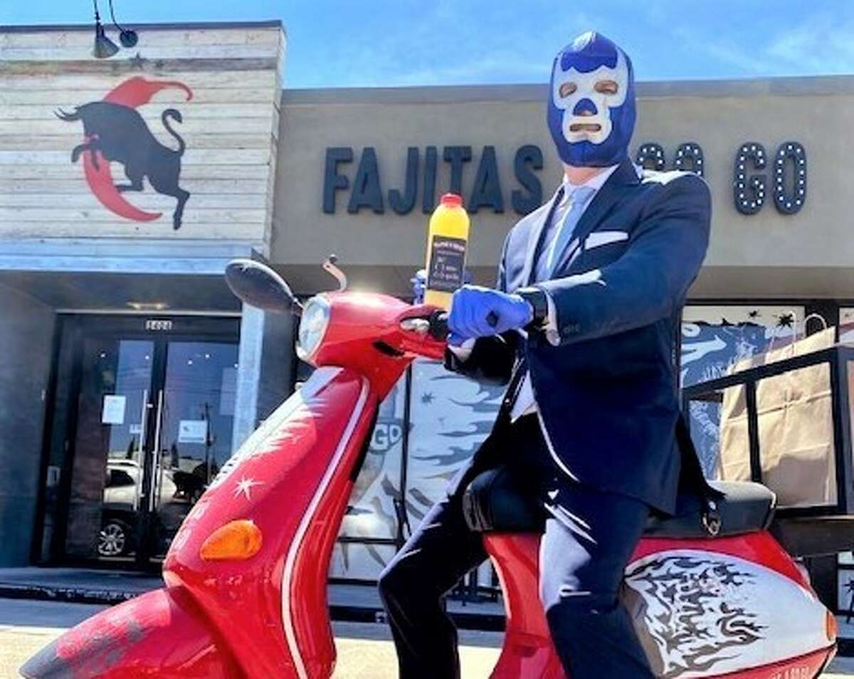 Fajitas A Go Go: Order food for delivery by a driver wearing a luchador mask on Cinco de Mayo. Add your favorite tequila to the margarita agave mix ($15; makes eight to 10 drinks). Open daily from 11 a.m. to 9 p.m.  5404 Kirby Dr., 713-661-0501, www.fajitasagogo.com