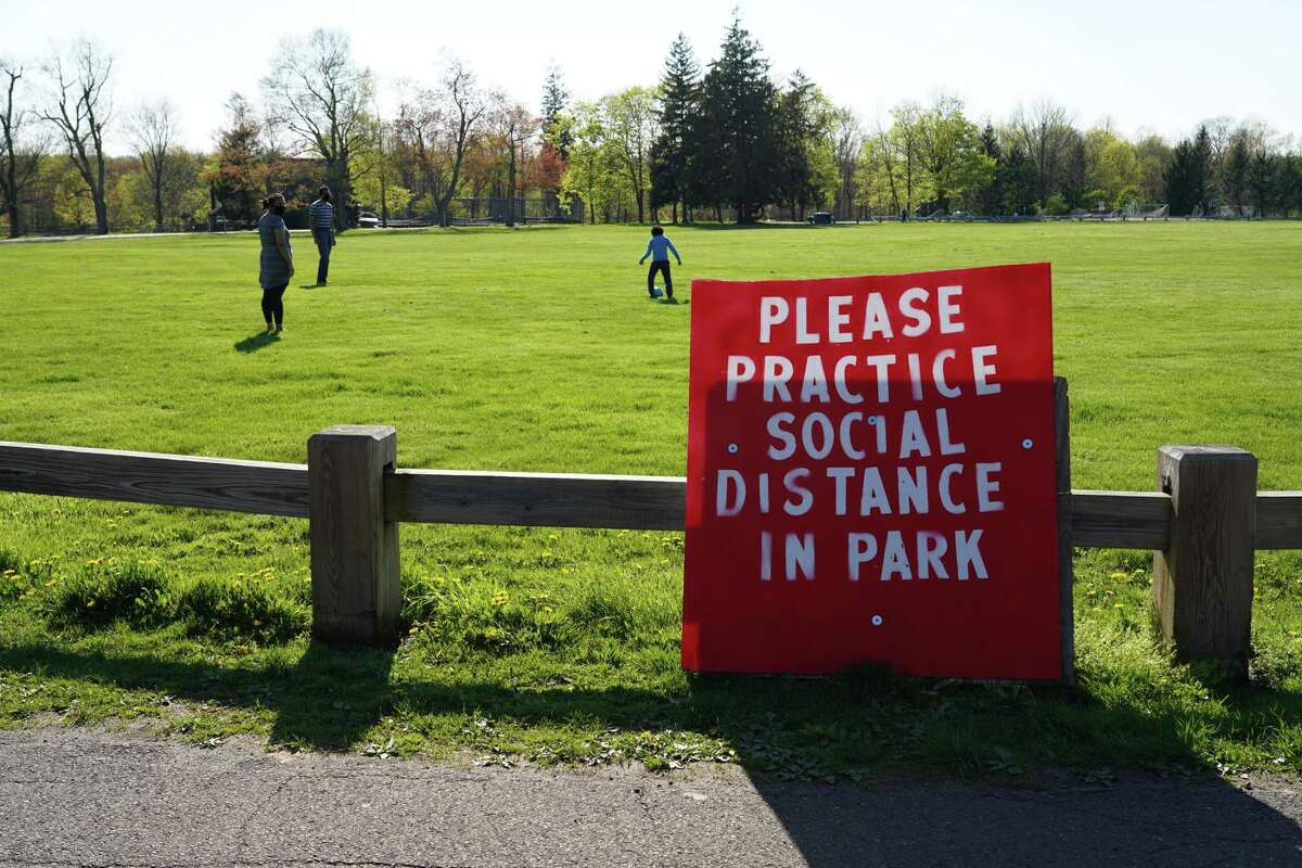 Waveny Park visitors were following social distancing in New Canaan on Sunday, May 4.