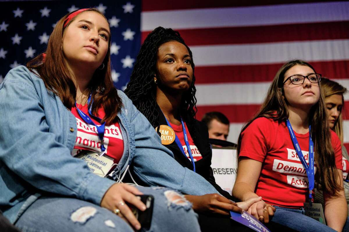 Attendees during a forum sponsored by Everytown for Gun Safety and two of its branches, Moms Demand Action and Students Demand Action, in Des Moines, Iowa, on Saturday, Aug. 10, 2019. In the wake of the mass shootings in El Paso and Dayton, Ohio, Democratic presidential candidates on Saturday emphasized the urgent need to confront gun violence in America. (Christopher Lee/The New York Times)