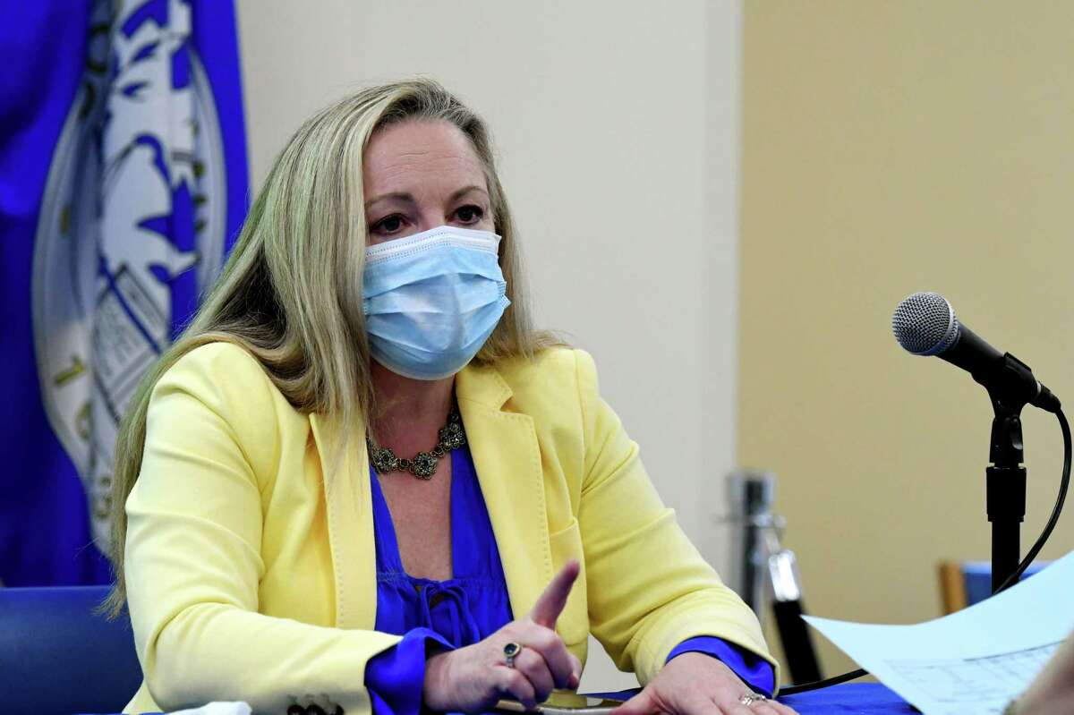 Albany County Department of Health Commissioner Dr. Elizabeth Whalen goes over COVID-19 case numbers following the county's daily coronavirus news briefing on Monday, May, 4, 2020, at the Albany County Office Building in Albany, N.Y. (Will Waldron/Times Union)