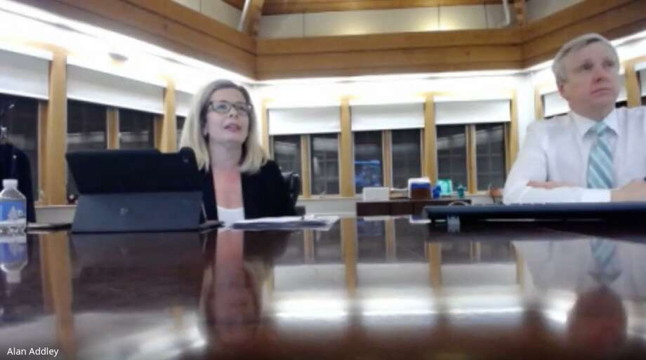 Board of Ed Chairman Tara Ochman, left, and Schools Superintendent Dr. Alan Addley address the impact of possible budget reductions during the most recent virtual Board of Ed meeting. Photo: Darien TV79