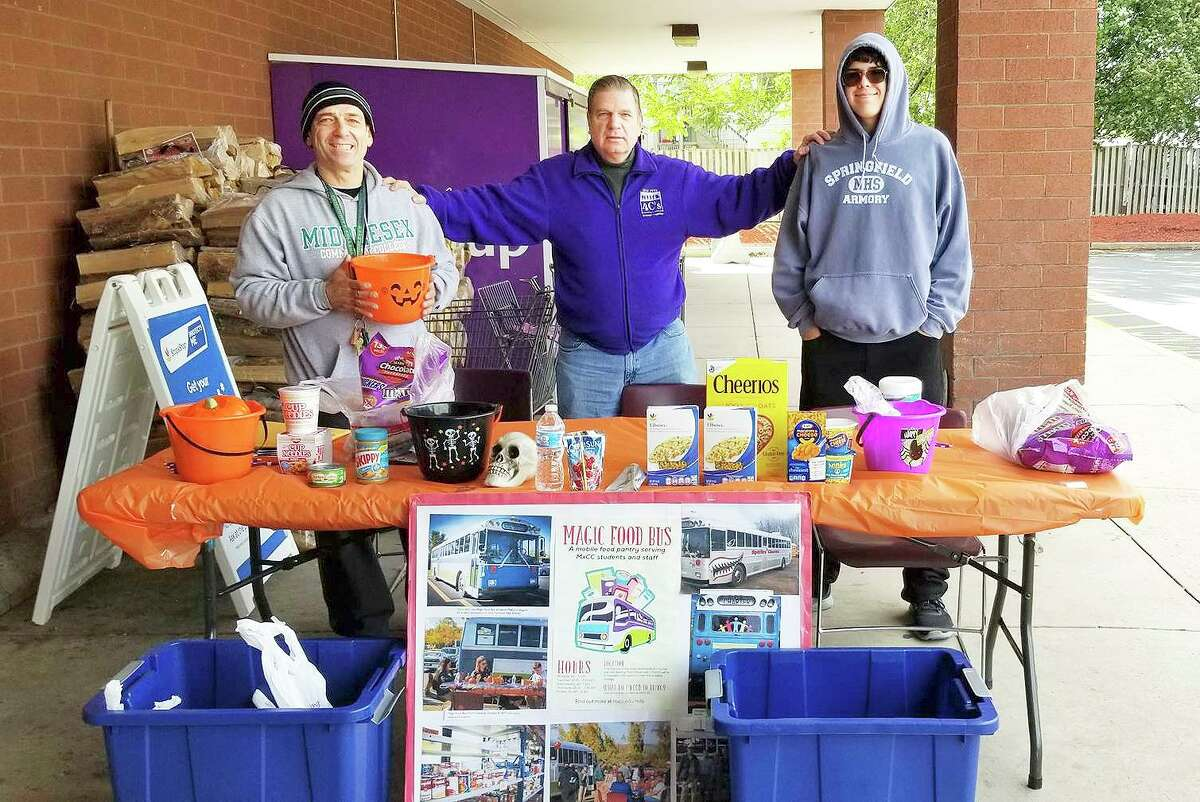 Middlesex Community College volunteers collect items at Stop & Shop for the Magic Food Bus in this 2018 picture.