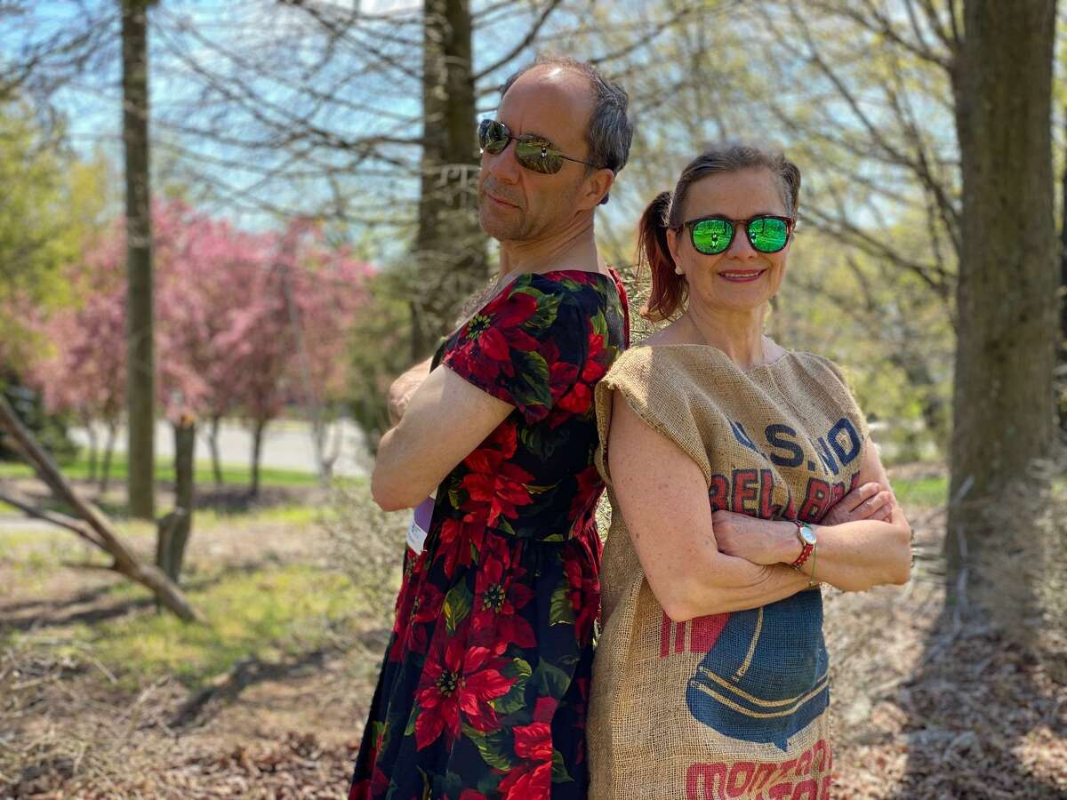 Andy Pforzheimer donned a dress and Zelie Pforzheimer gussied up with a potato sack to run the Circle of Care 5K. The stunt raised $16,000 for the organization.