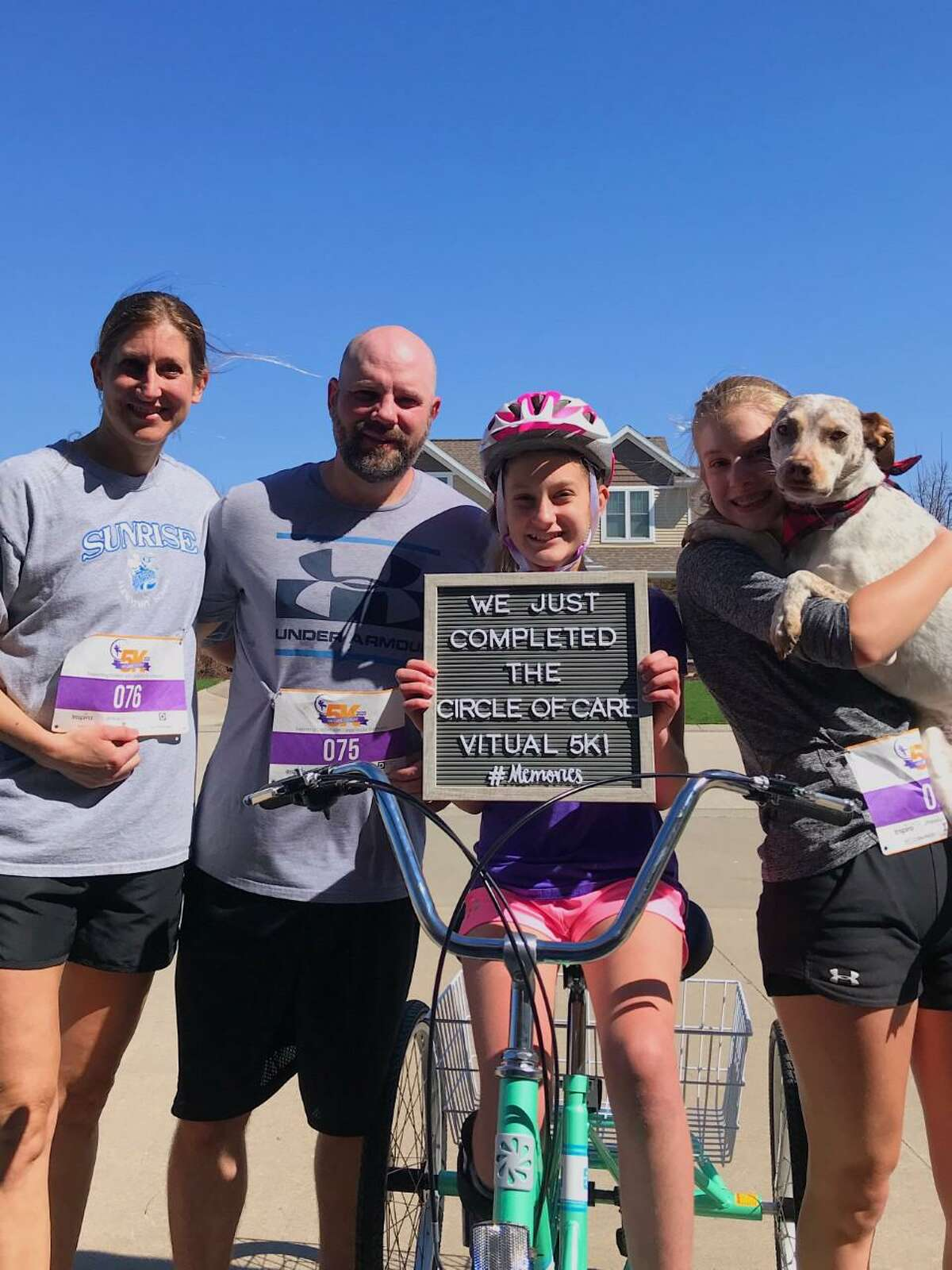 A Wisconsin family, grateful to Circle of Care for its help when they lived Connecticut, participated in the virtual 5K.