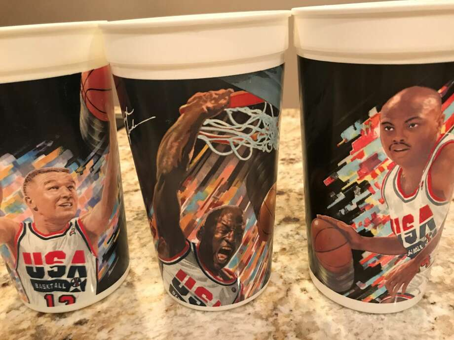 PHOTOS: A look at each member of the 1992 Dream Team McDonald's Dream Team commemorative cups from 1992 of Chris Mullin, Michael Jordan and Charles Barkley. Photo: Matt Young