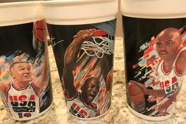 McDonald's Dream Team commemorative cups from 1992 of Chris Mullin, Michael Jordan and Charles Barkley.