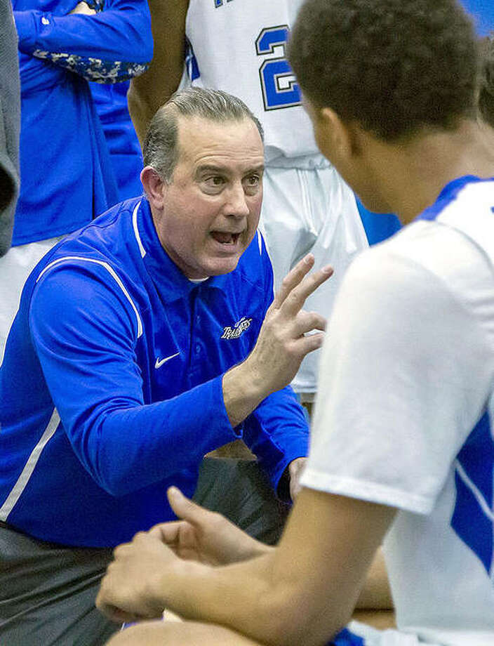LCCC men's basketball coach Doug Stotler, shown last season, has received verbal commitments from several recruits. But because of the NJCAA's off-campus recruiting ban due to COVID-129, Stotler is still waiting to get signatures on letters of intent.