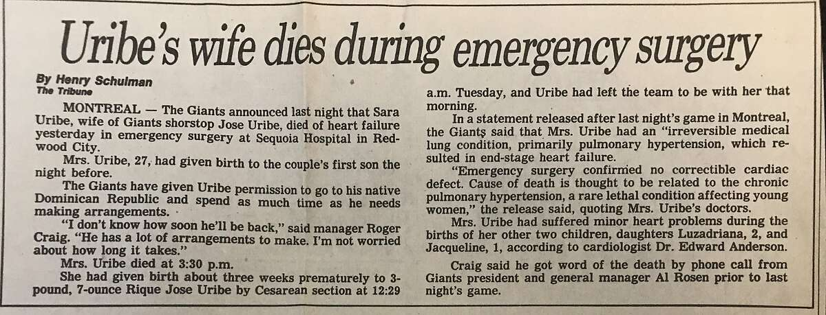 Henry Schulman's story in the June 2, 1988 edition of the Oakland Tribune on the death of Jose Uribe's wife, Sara.