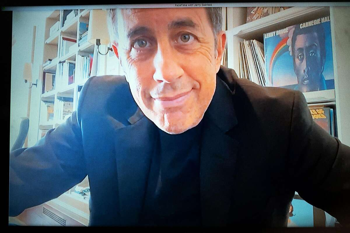 Jerry Seinfeld, photographed via FaceTime, by Daniel Arnold in the photographer's home in New York, May 1, 2020.