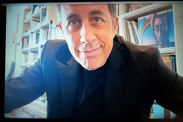 "Jerry Seinfeld, photographed via FaceTime, by Daniel Arnold in the photographer's home in New York, May 1, 2020. ""I did show business,"" Seinfeld said. ""And I love show business, but I'm past that. Past trying to play or understand that game."" (Daniel Arnold/The New York Times)"