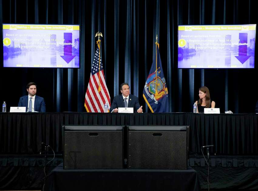 Gov. Andrew Cuomo provides a coronavirus update during a press conference on Monday, May 4, 2020, in Rochester, N.Y. (Office of the Governor)