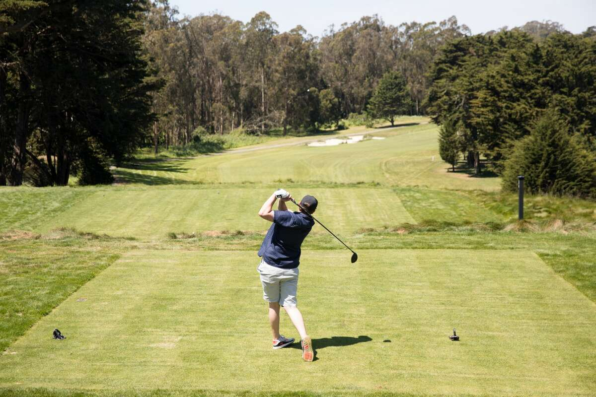 Dylan Smith of San Francisco tees off at the first hole of the Presidio Golf Course in San Francisco on May 4, 2020. Club Manager Abbas Qabazard told SFGATE,