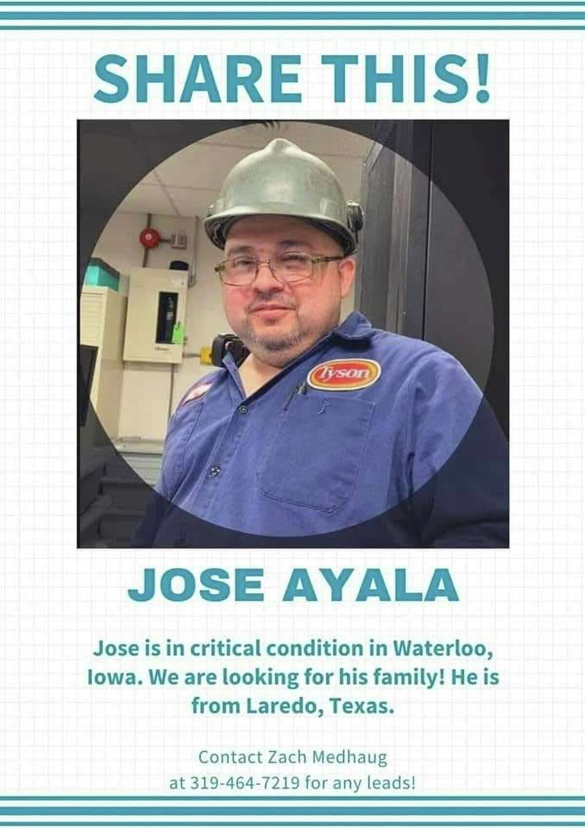 Photos on Facebook show Laredo's Jose Ayala, who is currently in critical condition in an Iowa hospital with COVID-related symptoms.
