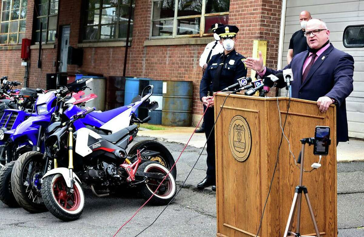 Assistant Chief Karl Jacobson speaks during a New Haven Police Department press conference at the New Haven Police Department Garage Monday announcing all terrain vehicle and dirt bike enforcement and recent arrests of ATV and dirt bike riders in New Haven on May 4, 2020.
