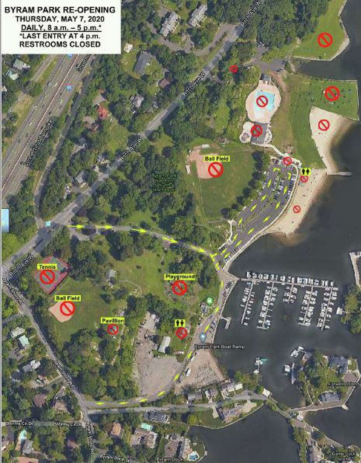 The town of Greenwich released this map with the detais of the reopening of Byram Park.