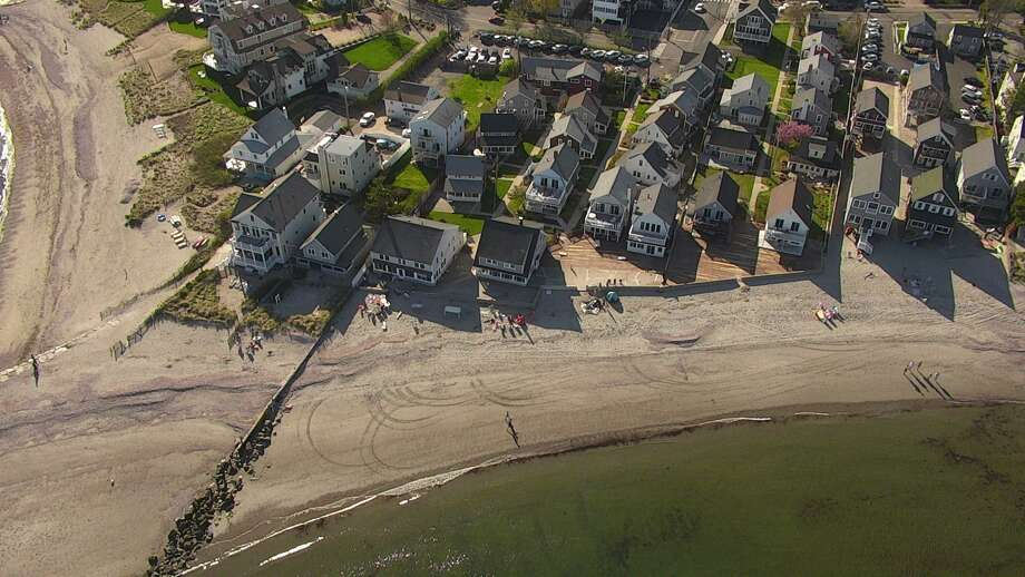 An aerial photo taken by the Fairfield Police Department drone at Fairfield beach. Photo: / Fairfield Police Department
