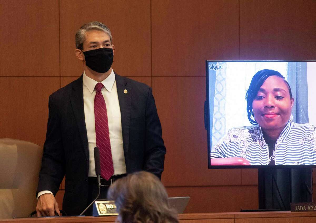 Mayor Ron Nirenberg wears a mask as he enters the April 30 council meeting. At Thursday's meeting, City Council extended San Antonio's stay-at-home order to June 4.
