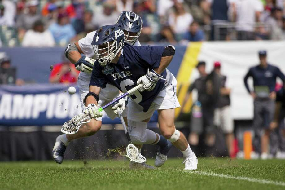 TD Ierlan #6 of Yale Bulldogs wins a face-off against Gerard Arceri #40 of Penn State Nittany Lions in the first quarter of the 2019 NCAA Division I Men's Lacrosse Championship Semifinals at Lincoln Financial Field on May 25, 2019 in Philadelphia, Pennsylvania. Photo: Mitchell Leff / Getty Images / 2019 Getty Images