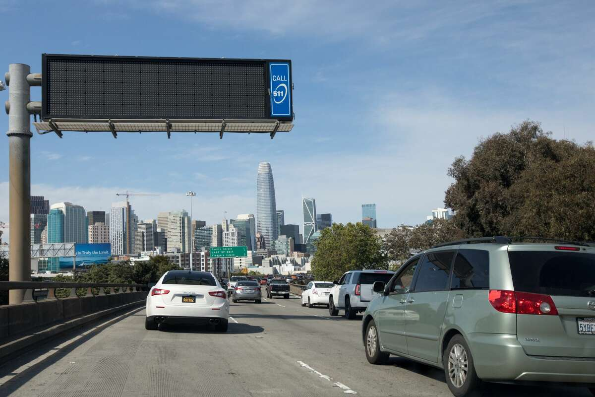 Traffic was slowing down during rush hour congestion on I-80 heading out of San Francisco on May 4, 2020.