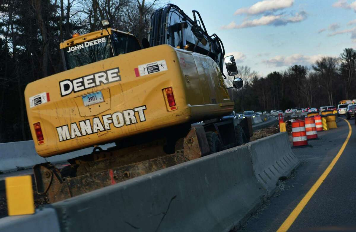 Ongoing construction on the Merritt Parkway Friday, February 28, 2020, in Fairfield, Conn. The end of the road is in sight for a three-year construction project on the Merritt Parkway. Work on a 5-mile stretch of the Merritt between Fairfield and Westport is 75 percent finished. The $57 million project has a contractually agreed end date of Aug. 8, and engineers said last week that the contractor, Manafort Brothers, is close to finishing on time.