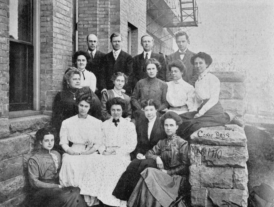 The faculty at the high school in Manistee is shown in this photograph from 1910.