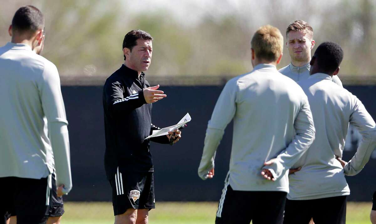 First-year coach Tab Ramos, in black, and the Dynamo return to action July 13 in their first game in the MLS is Back Tournament.