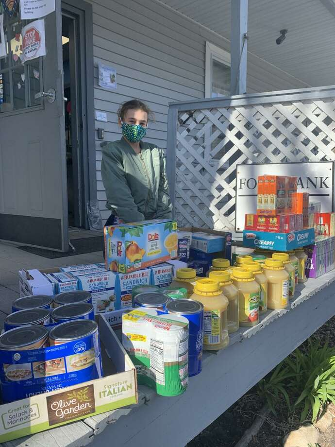 Annika Schnabel, fourth grade student at Renbrook and a resident of Torrington, recently organized a food drive for local food pantries. Photo: Contributed Photo