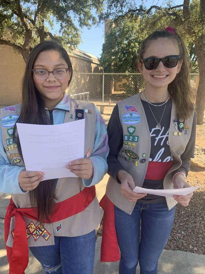 Flag: Saittah Sanchez, left, and Madilynn Green Photo: Courtesy Photo
