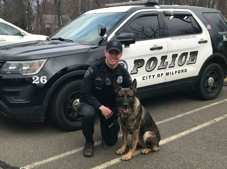 Milford Police Officer Kevin Hilliard with K9 Tyson. Photo: Contributed Photo