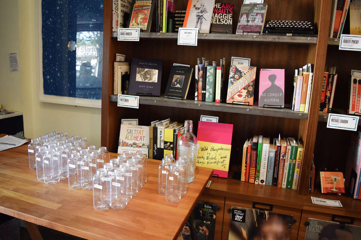 Cocktail kits and books stand at the ready to be assembled for takeout orders. Readers can choose from selections curated by famous writers and musicians, including Patti Smith, Samin Nosrat and George Saunders. Also on the