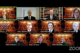 The Texas Supreme Court held oral arguments in three cases Wednesday, April 8, 2020, meeting remotely by Zoom with the event shown live on the court's YouTube channel. (YouTube screenshot/TNS)