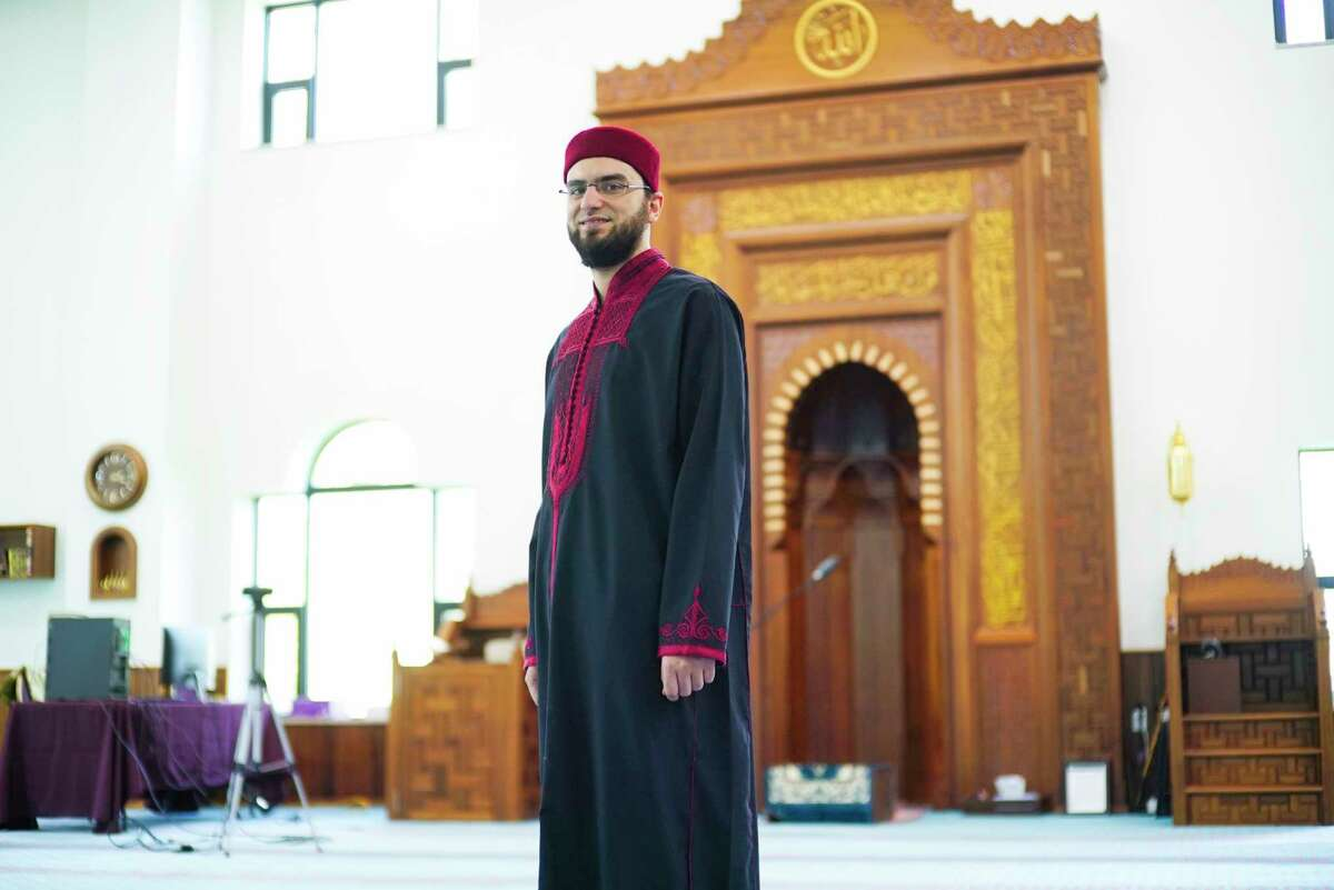 Imam Houssem Marzouk at the Al-Hidaya Center on Tuesday, May 5, 2020, in Colonie, N.Y. Marzouk was finally able to come to the U.S., a year after his work visa was approved. (Paul Buckowski/Times Union)