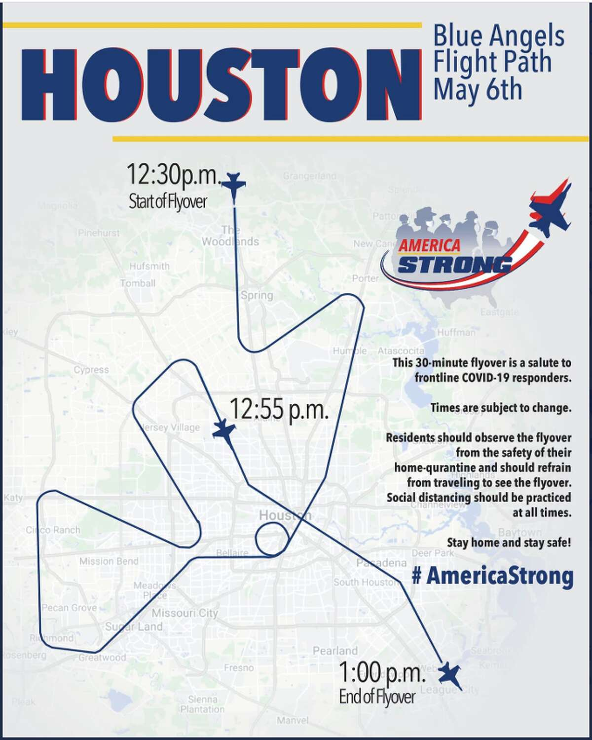 """Your #BlueAngels are heading your way Houston! Check out the overhead times and route on the graph they shared. """"Residents should observe the flyover from the safety of their home-quarantine and should refrain from traveling to see the flyover. Social distancing should be practiced at all times,"""" said a Twitter post."""