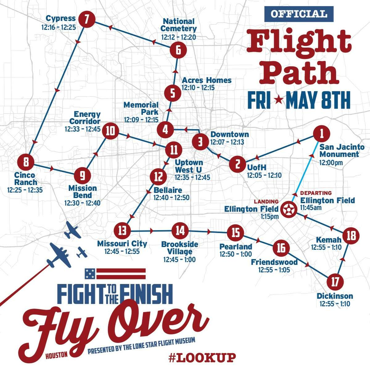 """The """"Fight to Finish"""" flyover will start at 11:45 a.m. on Friday, May 8 from Ellington Airport and fly a 120-mile flight plan over the Greater Houston area. The flight is said to last just over an hour, returning to Ellington around 1 p.m. Cites such as Pasadena, Pearland, Friendswood, Dickinson, Kemah, Cinco Ranch, and Spring-Cypress, among others, will have a front row seat to the flyover."""
