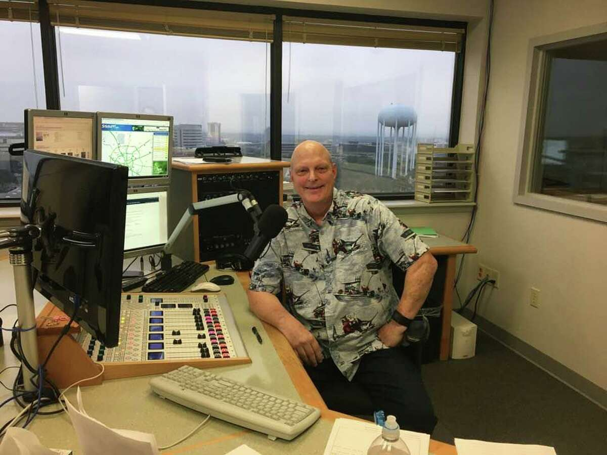 Brent Boller at the microphone for Texas Public Radio in an undated photo. Boller, a radio personality and former spokesman for Joint Base San Antonio, died of cancer Monday at 63.