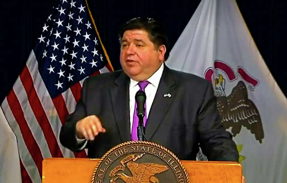 Gov. J.B. Pritzker talks during a recent daily briefing. Photo: For The Intelligencer